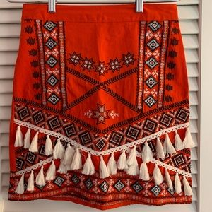 River Island Boho Embroidered Skirt with Tassels